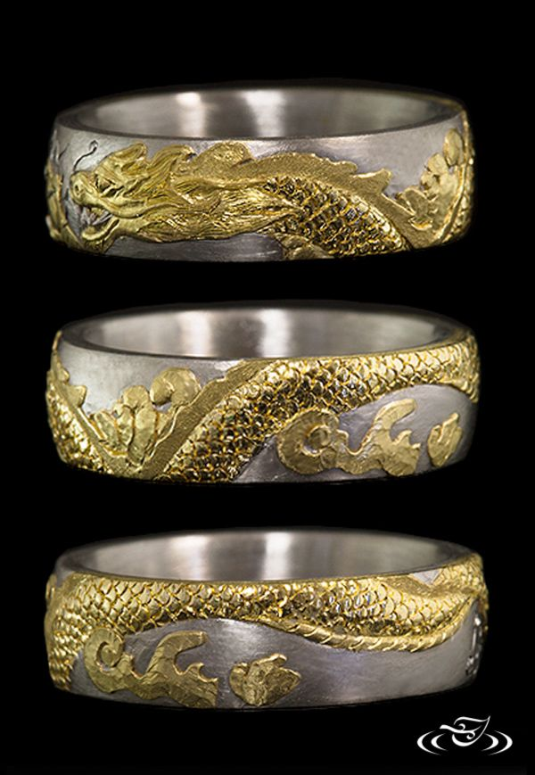 BEST of 2015 at #GreenLakeJewelry: #Golden Dragon #Band hand engraved by our very own Joe Worley! #ArtistsAtWork