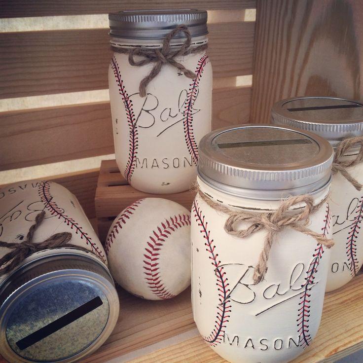 Hand-Painted Baseball Mason Jar Bank Baby by MidnightOwlCandleCo