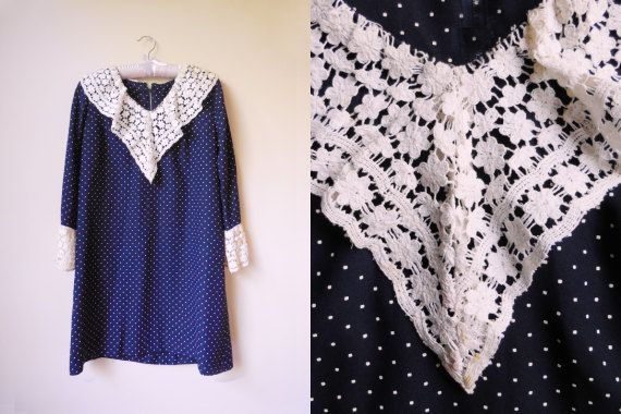 vintage navy dress with polka dots and lace by starseedvintage
