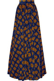 Finds + Talbot Runhof printed stretch-corduroy maxi skirt | NET-A-PORTER