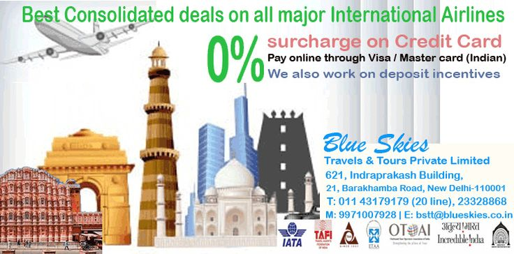 Book your flight tickets online at Blue Skies Holidays.