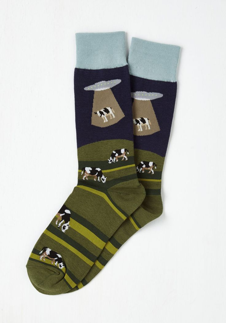 Space to Graze Men's Socks - Multi, Novelty Print, Holiday, Critters, Fall, Winter
