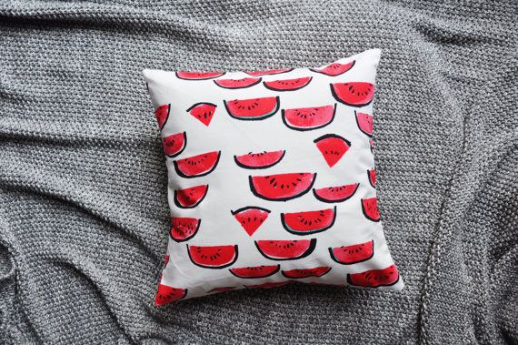Watermelon Print White Envelope Cushion Cover by trimandthread