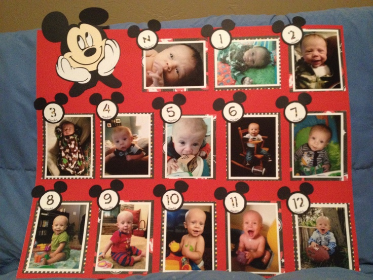 First birthday collage/Mickey mouse