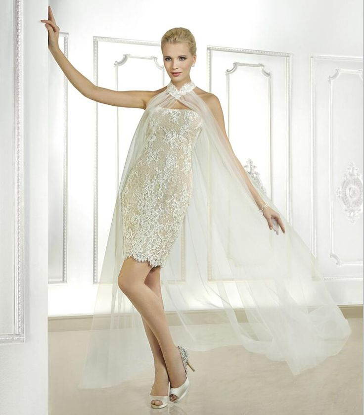 2015 Sexy Short Lace Wedding Dress With Sheer Tulle Shawl