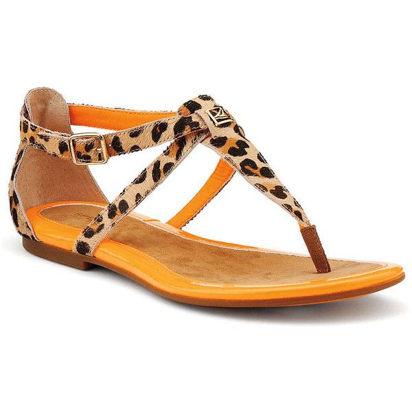Sperry Top-Sider Summerlin Thong Sandal ($40) ❤ liked on Polyvore featuring shoes, sandals, flats, leopard pony, leopard print sandals, leopard print flats, thong sandals, leather flats and summer sandals