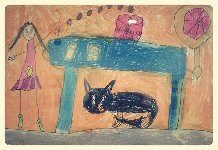 Dibujo de una niña en el centro cultural peruano japonés.