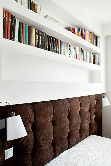 small bedroom - i like the ideas of having a neat rack above the headboard