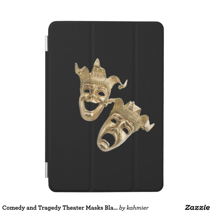 Comedy and Tragedy Theater Masks Black iPad Mini Cover