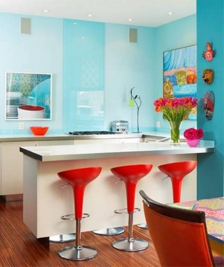 Kitchen : Blue Kitchen Red Round Bar Chairs Kitchen Laminate Flooring White Cabinet Wall Kitchen Accessories Orange Bowl Glass Vase Electric Oven Ceiling Lights Awesome Color Schemes for a Modern Kitchen Kitchen Chimneys. Kitchen Vinyl Flooring. Modern Red Kitchen Ideas.