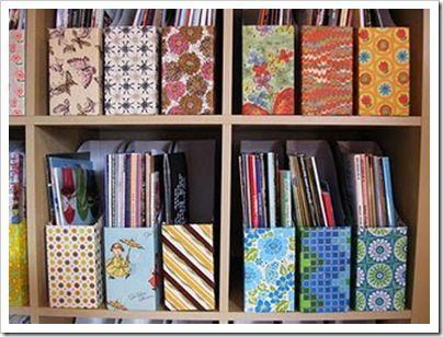 Reutilização das caixas de cereal, ótimo para organizar documentos, revistas e papeladas