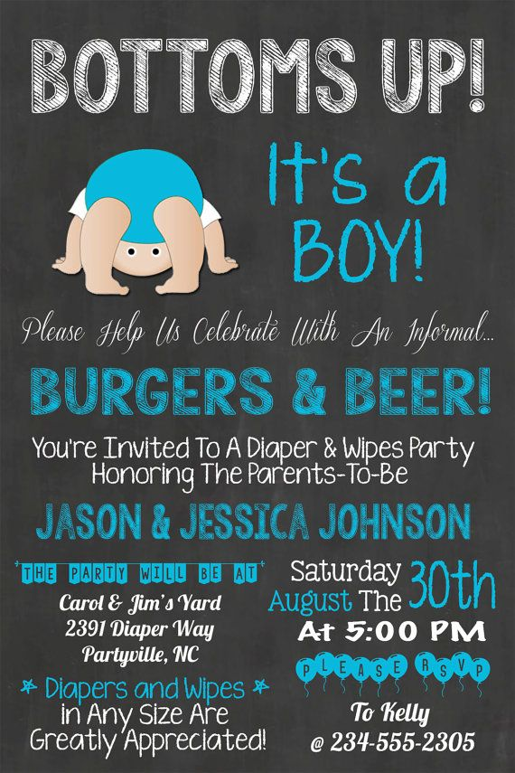 Bottoms Up Baby Shower Diaper Party BBQ by WorldOfThought on Etsy