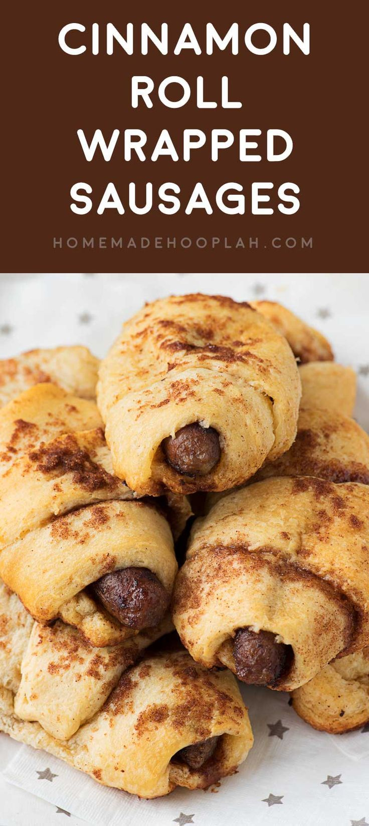 Cinnamon Roll Wrapped Sausages! Breakfast pigs in a blanket with a twist: savory sausage wrapped in a flaky crescent roll and flavored with brown sugar. Perfect for breakfast or brunch! #ad @jvillesausage | HomemadeHooplah.com