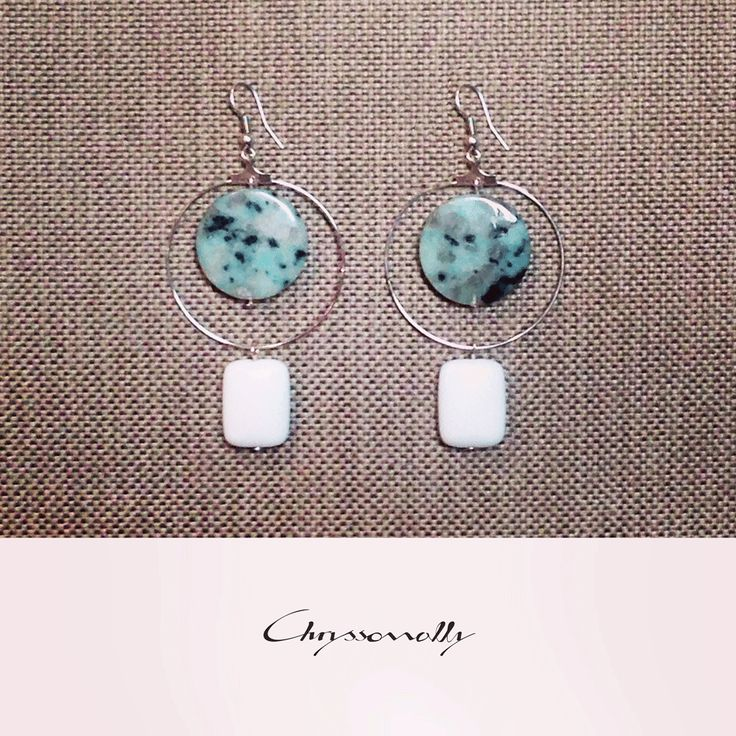 JEWELRY | Chryssomally || Art & Fashion Designer - Minimal geometric earrings with mint green - turquoise and white gemstones
