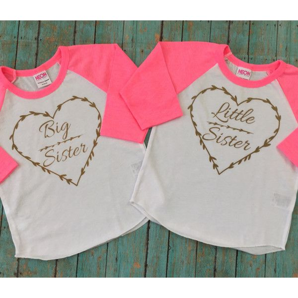 Big Sister Little Sister Perfect for Pictures or everyday wear... ($32) ❤ liked on Polyvore featuring tops, t-shirts, gold t shirt, 3/4 sleeve raglan shirt, raglan-sleeved t-shirts, 3/4 sleeve tee and t shirts