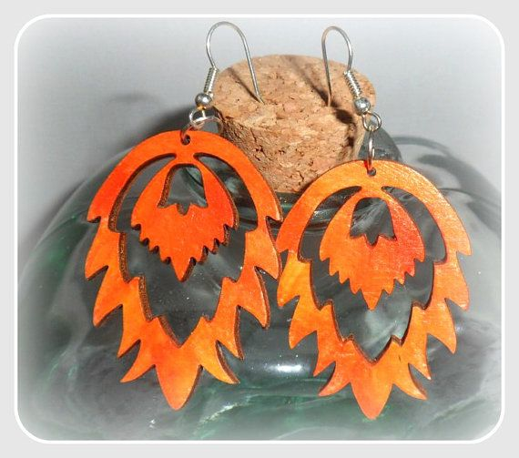 Orange Flames shape wooden earringswith silver by CarmenHandCrafts, €5.00