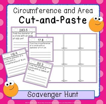circumference and area of circles cut and paste scavenger hunt activity circles. Black Bedroom Furniture Sets. Home Design Ideas