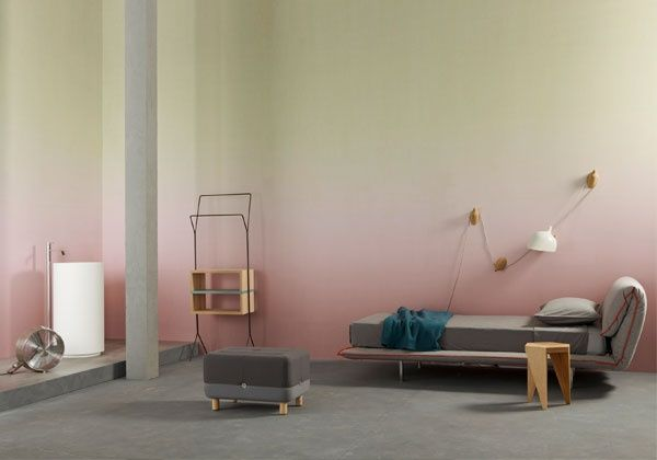 TAKE ME THERE- ombre wall paint, peach and lemon gradient, office room.