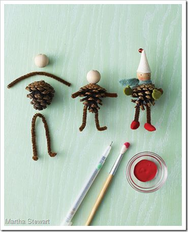 Pinecone elves - cute crafts project for kids