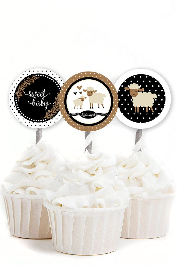 Little Lamb Cupcake Toppers Lamb Baby Shower by MKKMDesigns love this colour theme