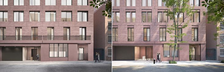 Image 4 of 6 from gallery of David Chipperfield's West Village Apartment Complex Finally Given Greenlight. Minor changes have been made between the January proposal (left) and February proposal (right). Image via LPC Review Materials