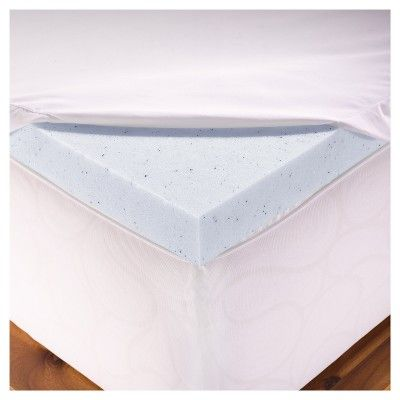 2 Gel Memory Foam Mattress Topper with Cover (Full) Blue- Authentic Comfort, Blue