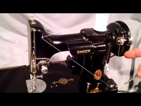 How to Wind Bobbin and Thread Bobbin Case for Vintage Singer Featherweight 221 Sewing Machine - YouTube