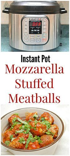 Instant Pot Mozzarella Stuffed Meatballs are tender and flavorful with a soft, creamy center of mozzarella cheese. Enjoy them as an appetizer on it's own or with your favorite pasta!