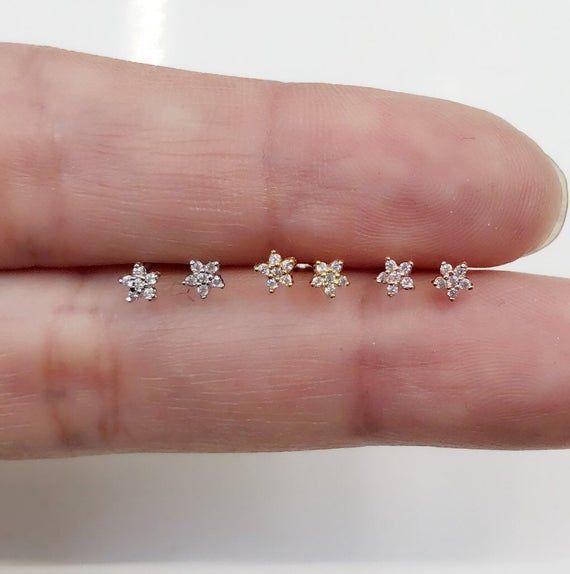 Flower Earrings Super Tiny Flower Earrings Pair 3mm Tiny Etsy Flower Earrings Studs Cute Stud Earrings Tiny Stud Earrings