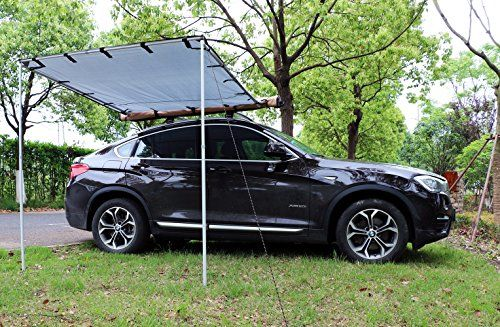 Tentproinc Car Awning Side Rooftop Tent Sun Shelter Designed for Vehicle with Roof Rack– 3-year Limited Warranty - 6' X 6.5', Gray  UNIVERSAL FIT - Quickly and easily attaches to Jeep Wrangler JKU. Perfect for camping, a day at the beach or enjoying the outdoors. Measures 6' X 6.5' when installed.  ALL INSTALLATION HARDWARE INCLUDED - Installation kit includes everything you need to mount to your Jeep including 2 sets of ties and spikes to secure poles.  PROTECT YOUR GUESTS AND FAMILY ...