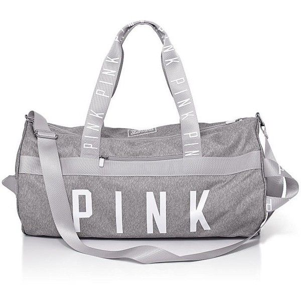 Victoria's Secret PINK Gym Duffle Tote Bag ($69) ❤ liked on Polyvore featuring bags, handbags, tote bags, victoria secret purse, victoria's secret, grey tote, grey tote handbags and grey handbags