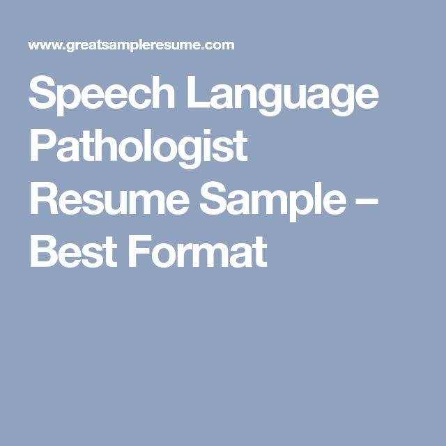 Speech Language Pathologist Resume Sample – Best Format