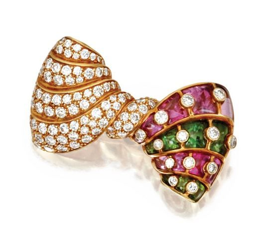 18 KARAT GOLD, COLORED STONE AND DIAMOND BOW BROOCH, BULGARI - Sotheby's