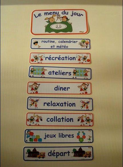 Horaire de la journée pour le préscolaire http://lindispensable.ca/Produits/Lemenudujour.aspx