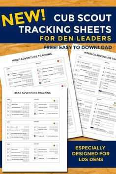 New Cub Scout Tracking Sheets especially for LDS dens