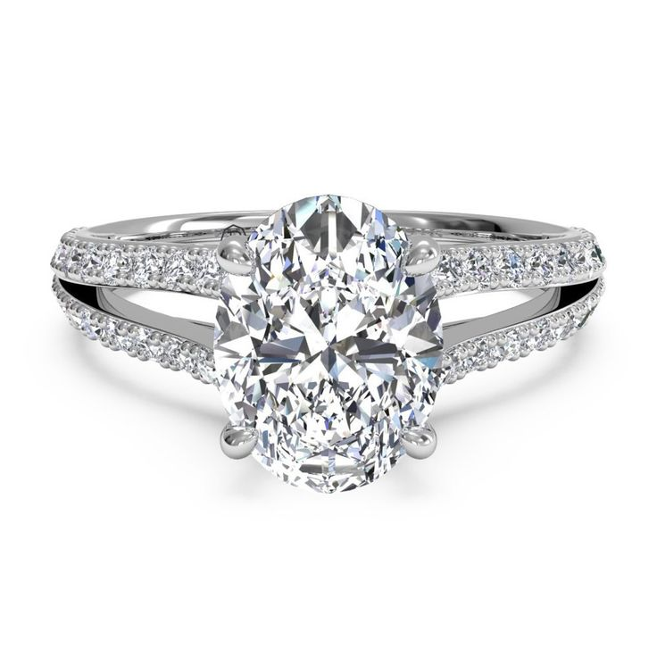 Ritani Platinum Oval Split Shank Diamond Engagement Ring