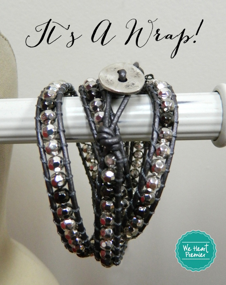 "Wrap bracelets are still the rage this season!  We LOVE this Premier Designs ""It's A Wrap"" bracelet.  Mix with your favorite silver or hematite sets!  #weheartpremier"
