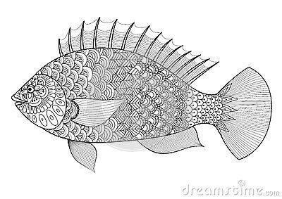 Линия стиль рыб zentangle искусства для книжка-раскраски для взрослого, татуировки, логотипа, дизайна футболки, элемента для диза