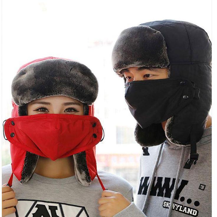 2016用ロシア男耳介冬黒の毛皮の帽子屋外防風厚く暖かい冬の雪の女性キャップフェイスマスク男性サイクリング帽子