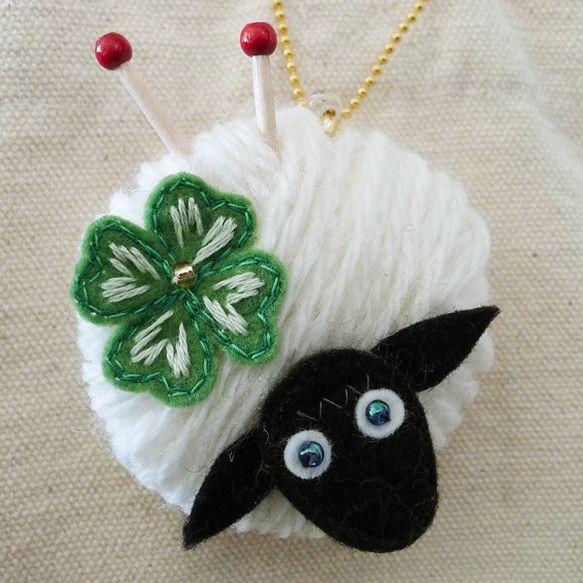 """sheep and clover"" embroidered lucky charm Ⓒ HAPPa-Ya Nagako Ono  URL: http://happa-ya.net #clover #felting #sheep"