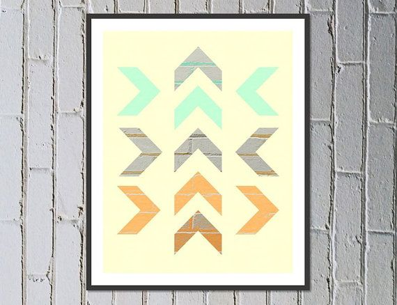 Digital download printable nursery art soft yellow arrow print with texture - Made by Gia $5.50
