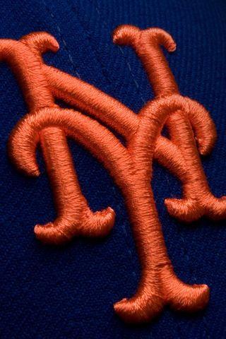 Mets logo closeup.