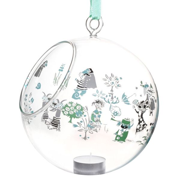 Moomin decoration balls are stylish and a nice way to decorate your home. This one features beloved Moomin characters in green. Place a candle in it and bring the Moomin characters to life.