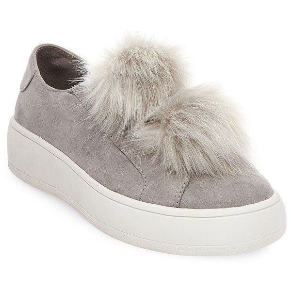 Steve Madden Bryanne Faux Fur Slip-On Sneakers (1,650 MXN) ❤ liked on Polyvore featuring shoes, sneakers, grey, grey sneakers, pom pom sneakers, gray sneakers, pom pom shoes and slip on sneakers