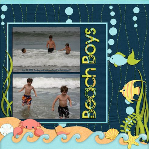 """Summer """"Beach Boys"""" Scrapbooking Page...lorigaud: A Cherry On Top."""