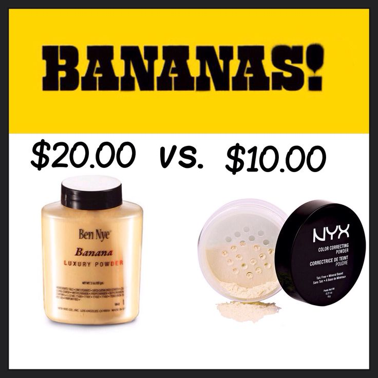This dupe is banana's glamour babes! Ben Nye Banana Powder vs. NYX Color Correcting Powder in shade Banana. These silky mattifying powders suit anyones skin tone and helps brighten, control redness, and even out one's complexion. How much do you love banana's now? Stay beautiful xo.