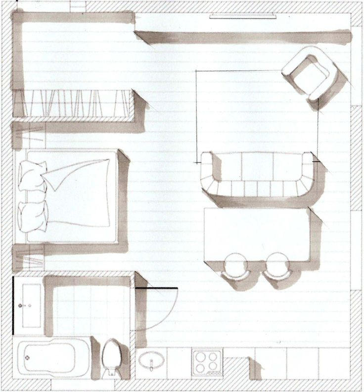 "Sketch-plan from e-course on hand rendering with markers (""Basic"" level) for interior designers by Olga Sorokina. Get now my tutorial on ""HOW TO CREATE SKETCH-PLAN in 10 STEPS"" (exactly this one on the pic) - VISIT my website www.olgaart888.com Markers and colored pencils. Interior drawing, sketching, hand rendering, floor plan, layout, design, ideas, materials, kitchen, living room, bedroom, dining room, studio apartment. Скетч план маркерами, скетчинг и дизайн интерьера."