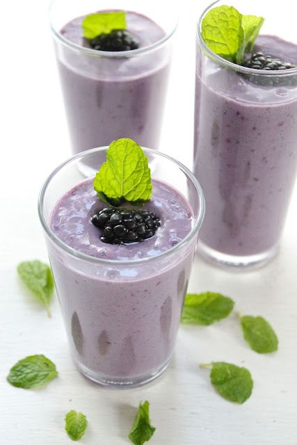 looks yummy  Ingredients:  Makes 4 servings     1 cup Greek yogurt  3 cups soy milk (more or less if you like)  6 oz organic fresh blackberries  2 frozen bananas  3-4 tablespoons honey (more or less if you like)  1/4 cup flax seed meal (optional)  Fresh mint    Place mint leaves and 1 cup of soy milk in a blender and blend for 10 seconds. Add remaining ingredients and blend until smooth. Serve.