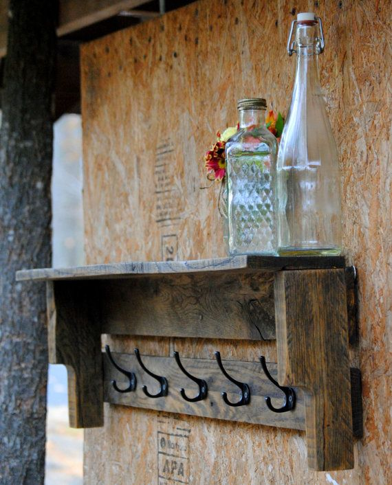 Coat Rack Rustic Coat Rack with Shelf Hand by revampedandrevived