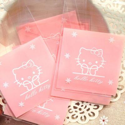 100 X 7 cm rose blanc bonjour Kitty bricolage gâteau biscuit Jelly Dessert de stockage sac d'emballage de savon faveur Birthday Party cadeau de mariage